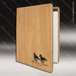 Embossed Etched Leather Portfolio -Bamboo Bamboo Leather Items