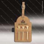 Embossed Etched Leather Golf Bag Tag with Wooden Tees -Bamboo Bamboo Leather Items