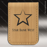 Embossed Etched Leather Money Clip -Bamboo Bamboo Leather Items
