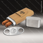 Embossed Etched Leather Cigar Case with Cutter -Bamboo Bamboo Leather Items