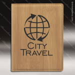 Embossed Etched Leather Passport Holder -Bamboo Bamboo Leather Items