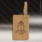 Embossed Etched Leather Luggage Tag -Bamboo Bamboo Leather Items