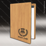 Embossed Etched Leather Mini Portfolio -Bamboo Bamboo Leather Items