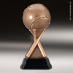 Premium Resin Bronze Sports Theme Baseball on Bats Trophy Award Baseball Trophies