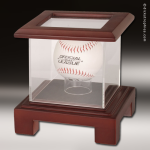 Display Case Acrylic Wood Cherry Finish for Baseball or Hockey Puck Baseball Trophy Awards