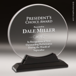 Acrylic Black Accented Circle Trophy Award Black Accented Acylic Awards