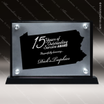 Acrylic Black Accented Silver US State Shaped Pennsylvania Trophy Award Black Accented Acylic Awards