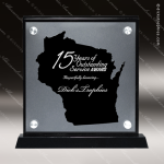 Acrylic Black Accented Silver US State Shaped Wisconsin Trophy Award Black Accented Acylic Awards