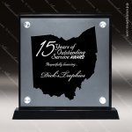 Acrylic Black Accented Silver US State Shaped Ohio Trophy Award Black Accented Acylic Awards