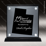 Acrylic Black Accented Silver US State Shaped Utah Trophy Award Black Accented Acylic Awards