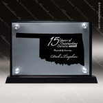 Acrylic Black Accented Silver US State Shaped Oklahoma Trophy Award Black Accented Acylic Awards