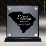 Acrylic Black Accented Silver US State Shaped South Carolina Trophy Award Black Accented Acylic Awards