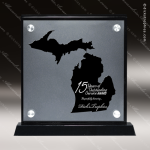 Acrylic Black Accented Silver US State Shaped Michigan Trophy Award Black Accented Acylic Awards