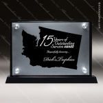 Acrylic Black Accented Silver US State Shaped Washington Trophy Award Black Accented Acylic Awards