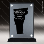 Acrylic Black Accented Silver US State Shaped Vermont Trophy Award Black Accented Acylic Awards