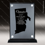 Acrylic Black Accented Silver US State Shaped Rhode Island Trophy Award Black Accented Acylic Awards