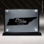 Acrylic Black Accented Silver US State Shaped Tennessee Trophy Award Black Accented Acylic Awards