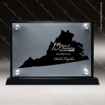 Acrylic Black Accented Silver US State Shaped Virginia Trophy Award Black Accented Acylic Awards