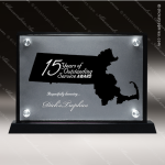Acrylic Black Accented Silver US State Shaped Massachusetts Trophy Award Black Accented Acylic Awards
