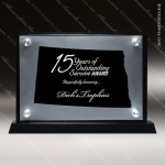 Acrylic Black Accented Silver US State Shaped North Dakota Trophy Award Black Accented Acylic Awards