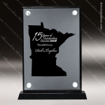 Acrylic Black Accented Silver US State Shaped Minnesota Trophy Award Black Accented Acylic Awards