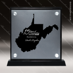 Acrylic Black Accented Silver US State Shaped West Virginia Trophy Award Black Accented Acylic Awards