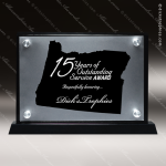 Acrylic Black Accented Silver US State Shaped Oregon Trophy Award Black Accented Acylic Awards