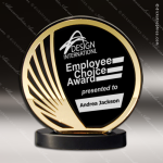 Acrylic Gold Accented Black Deep Set Circle Trophy Award Black Accented Acylic Awards