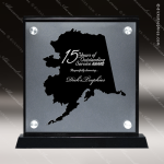 Acrylic Black Accented Silver US State Shaped Alaska Trophy Award Black Accented Acylic Awards