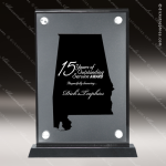 Acrylic Black Accented Silver US State Shaped Alabama Trophy Award Black Accented Acylic Awards