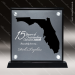 Acrylic Black Accented Silver US State Shaped Florida Trophy Award Black Accented Acylic Awards