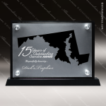 Acrylic Black Accented Silver US State Shaped Maryland Trophy Award Black Accented Acylic Awards