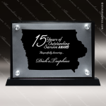 Acrylic Black Accented Silver US State Shaped Iowa Trophy Award Black Accented Acylic Awards