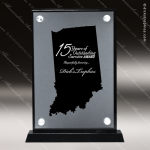 Acrylic Black Accented Silver US State Shaped Indiana Trophy Award Black Accented Acylic Awards
