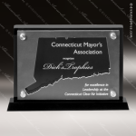 Acrylic Black Accented Silver US State Shaped Connecticut Trophy Award Black Accented Acylic Awards