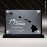 Acrylic Black Accented Silver US State Shaped Hawaii Trophy Award Black Accented Acylic Awards