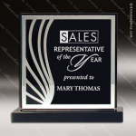 Acrylic Black Accented Silver Trimmed Deep Set Square Trophy Award Black Accented Acylic Awards