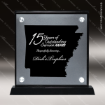 Acrylic Black Accented Silver US State Shaped Arkansas Trophy Award Black Accented Acylic Awards