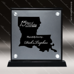 Acrylic Black Accented Silver US State Shaped Lousiana Trophy Award Black Accented Acylic Awards