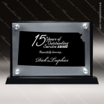 Acrylic Black Accented Silver US State Shaped Kansas Trophy Award Black Accented Acylic Awards