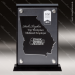 Acrylic Black Accented Silver US State Shaped Georgia Trophy Award Black Accented Acylic Awards