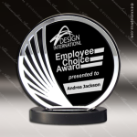 Acrylic Black Accented Silver Trimmed Deep Set Circle Trophy Award Black Accented Acylic Awards