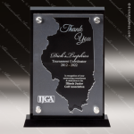 Acrylic Black Accented Silver US State Shaped Illinois Trophy Award Black Accented Acylic Awards