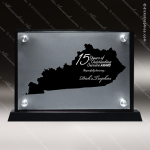 Acrylic Black Accented Silver US State Shaped Kentucky Trophy Award Black Accented Acylic Awards