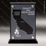 Acrylic Black Accented Silver US State Shaped California Trophy Award Black Accented Acylic Awards
