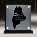 Acrylic Black Accented Silver US State Shaped Maine Trophy Award Black Accented Acylic Awards