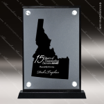 Acrylic Black Accented Silver US State Shaped Idaho Trophy Award Black Accented Acylic Awards