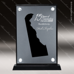 Acrylic Black Accented Silver US State Shaped Delaware Trophy Award Black Accented Acylic Awards