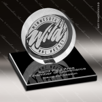 Crystal Black Accented Hockey Puck on Black Glass Base Trophy Award Black Accented Crystal Awards