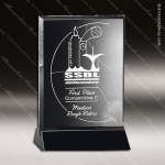 Crystal Black Accented Cavalcade Rectangle Trophy Award Black Accented Crystal Awards